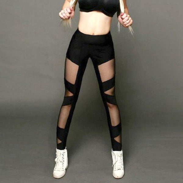 Sexy See Through Look Mesh Cross Bundling Stripe Women Sports Leggings For Big Sale!- Fowish.com