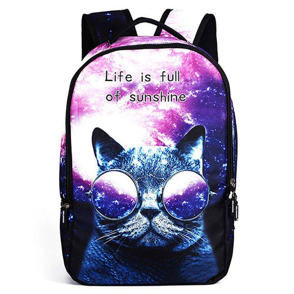 Cute Starry Sky Large Travel Backpack Punk Cute Dog Panda Cat Animals Galaxy Backpack For Big Sale!- Fowish.com