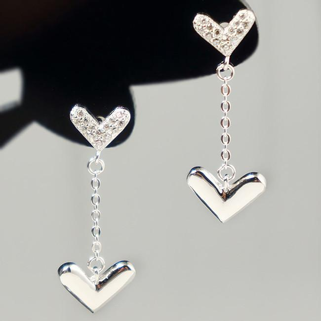 Cute Heart-shaped Hanging Silver Closer Hearts Diamond-bordered Polished Heart Women's Earring Studs For Big Sale!- Fowish.com