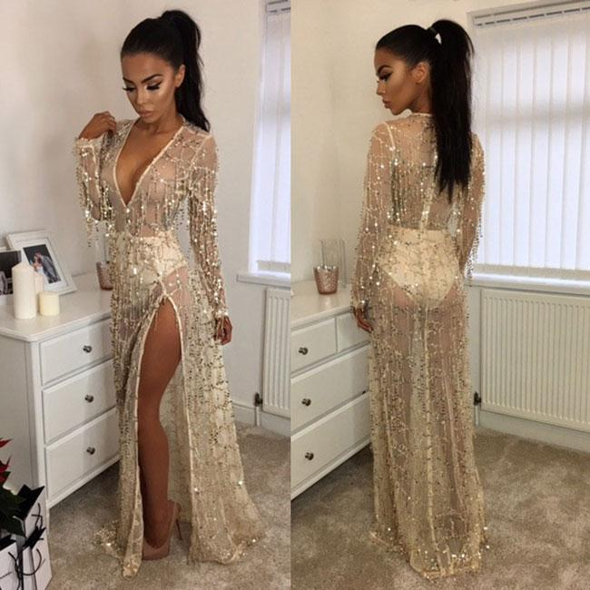 Sexy Women's V-neck Bead Tassels Beach Dress Sequin Long Prom Dress For Big Sale!- Fowish.com