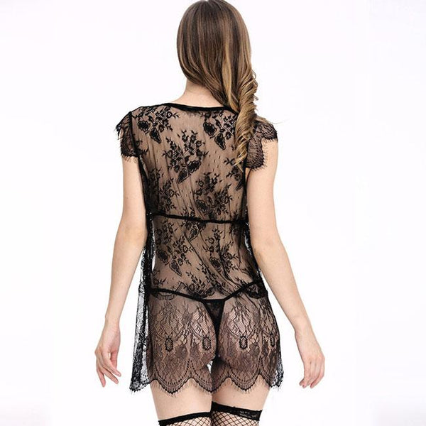 Sexy Chemise See Through Lace Stitching Robe Sleepwear Women's Lingerie For Big Sale!- Fowish.com
