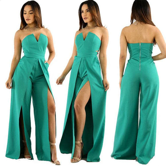 Sexy Women's Boat Neck V-neck Front Slit Loose Pants Jumpsuit Dress For Big Sale!- Fowish.com