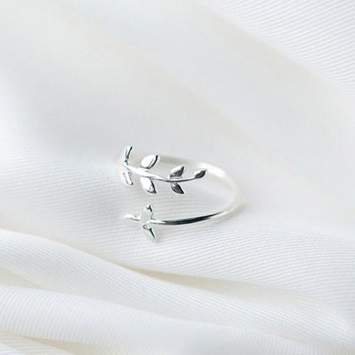Fresh Lady Simple Tree Leaves Silver Open Rings For Big Sale!- Fowish.com