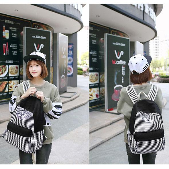 Leisure Travel Striped Canvas Girl's School Backpack Fashion Stripes Designed Student Bag For Big Sale!- Fowish.com