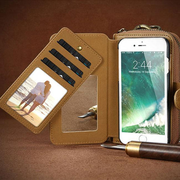 Retro Zipper Wallet Multifunction PU Leather Iphone Case Wallet Purse Clutch Bag For Big Sale!- Fowish.com