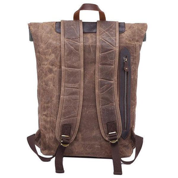 Retro Men's Canvas Waterproof Splicing Leather Flap Rivets Leisure Laptop School Backpack Travel Backpack For Big Sale!- Fowish.com