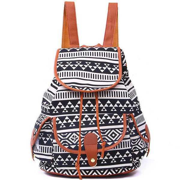 Geometric Patterns Printing Splicing PU Belt Flap Canvas Backpack For Big Sale!- Fowish.com