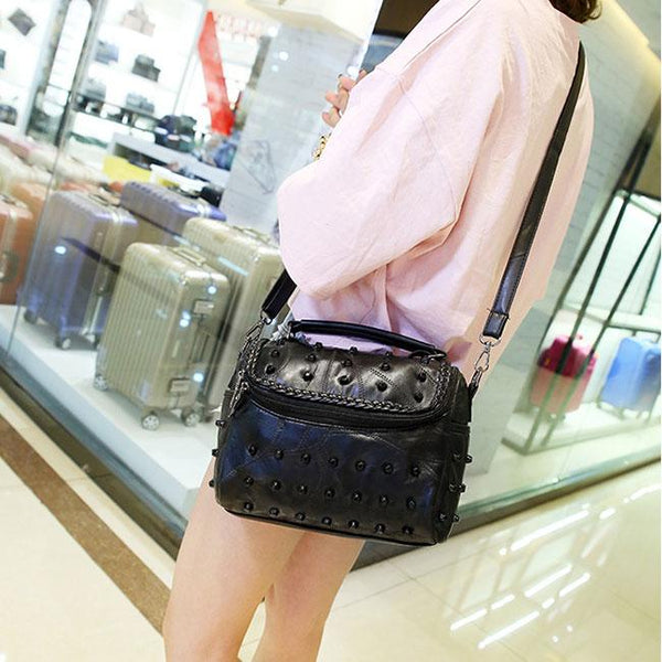 Punk Ladies Stitching Leather Weave Rivets Shoulder Bags For Big Sale!- Fowish.com