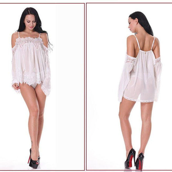 Sexy Lace Loose Long Sleeves Sleepwear Camisole Dress Women's Mesh See Through Lingerie For Big Sale!- Fowish.com