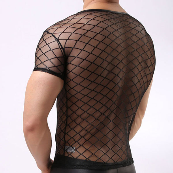 Sexy Ultra-thin Mesh Transparent Short Sleeve Black Net Man Lingerie