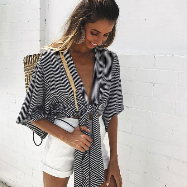 Wrap-and-tie Bare-midriff tops Half Sleeves Chest Wrap Shirt For Big Sale!- Fowish.com
