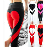 Fashion Sports Girl's Two Colors Heart Splicing Legging Showing Raised Buttocks Style Yoga Skinny Legging For Big Sale!- Fowish.com