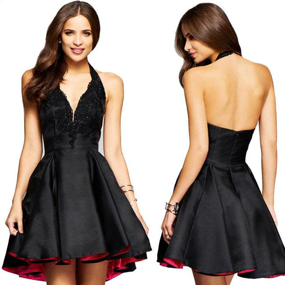 Sexy Satin Splicing Lace Black Halter Party Skirt Women's V-neck Dress For Big Sale!- Fowish.com