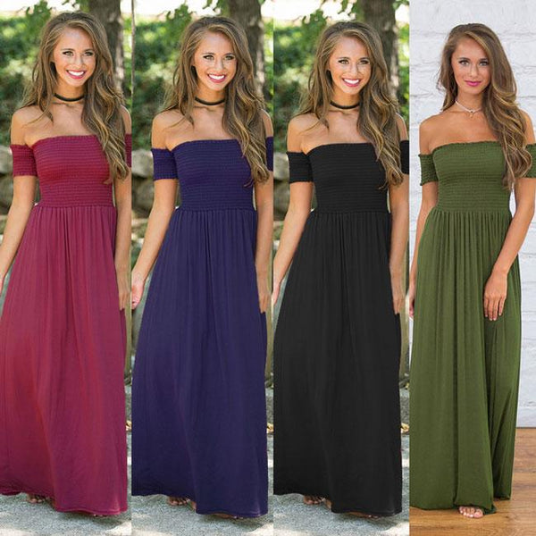 Sexy Backless Shoulder Party Dresses Pure Color Sexy Long Club Summer Dress For Big Sale!- Fowish.com