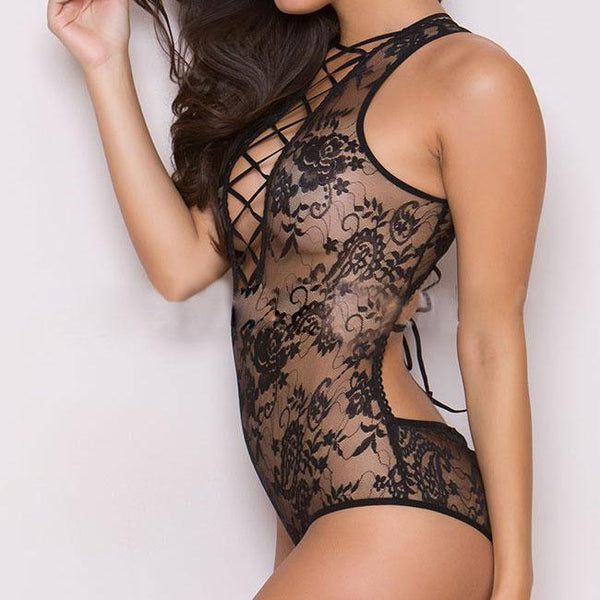 Sexy Front Back Cross Straps Backless Flower Embroidery One-piece Women's Lace See Through Lingerie For Big Sale!- Fowish.com
