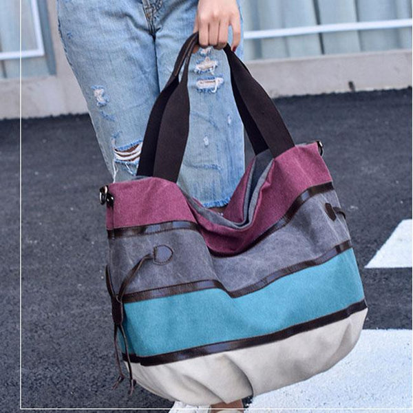 Leisure Colorful Rainbow Large Striped Canvas Shopping Handbag Shoulder Bag For Big Sale!- Fowish.com