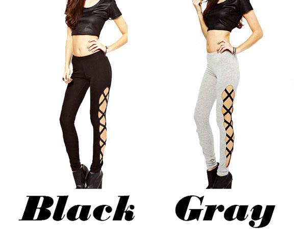 Sexy Girl's Side High Slit Cross Lines Lace-up Ninth Skinny Leggings For Big Sale!- Fowish.com