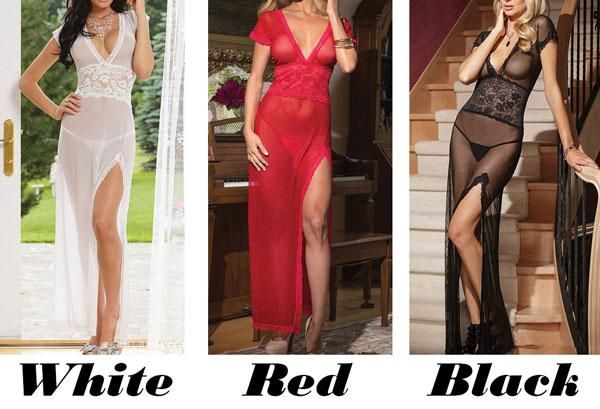 Sexy Women's Deep-V See Though Long-style Mesh Pajamas High Slit Long Dress Lingerie For Big Sale!- Fowish.com