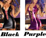 Sexy Halter Backless Front Cross-strap Patent Pole Dance Sleepwear Women's Cosplay Leather Lingerie For Big Sale!- Fowish.com