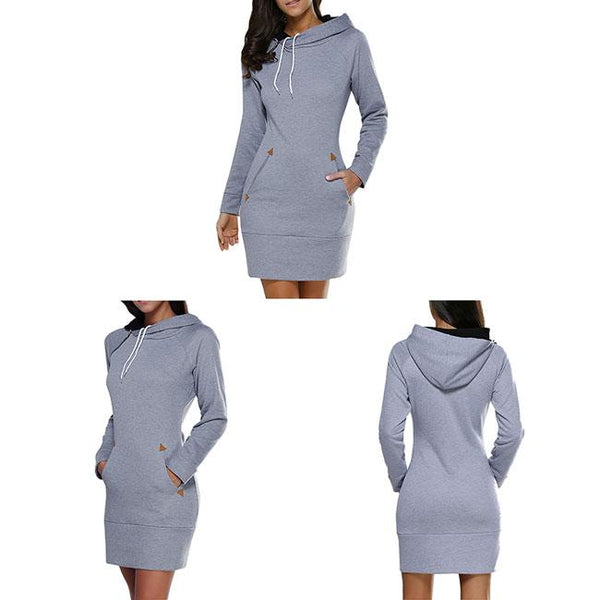 Fashion Solid Hooded Pullover Silm Long Sleeves Women Autumn Sweater Dress For Big Sale!- Fowish.com