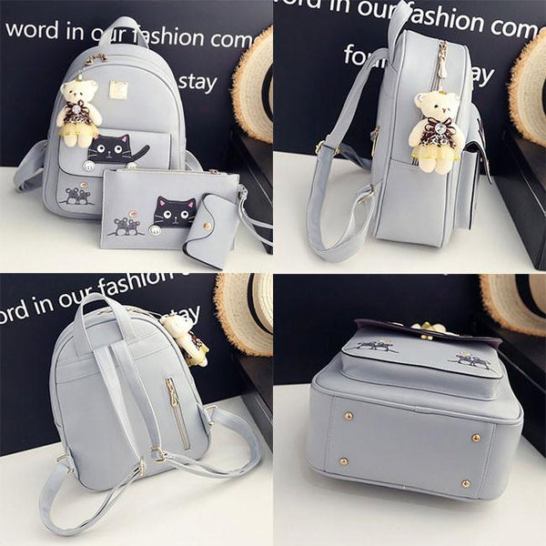 Cute Kitty Bag Gift Bear Doll Mouse Splicing Cat PU Kitty Backpack Cartoon School Backpack For Big Sale!- Fowish.com