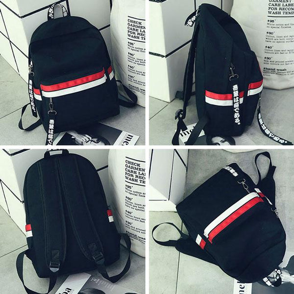 Leisure Two Color Stripes Waterproof Striped Student Bag Canvas School Backpack For Big Sale!- Fowish.com