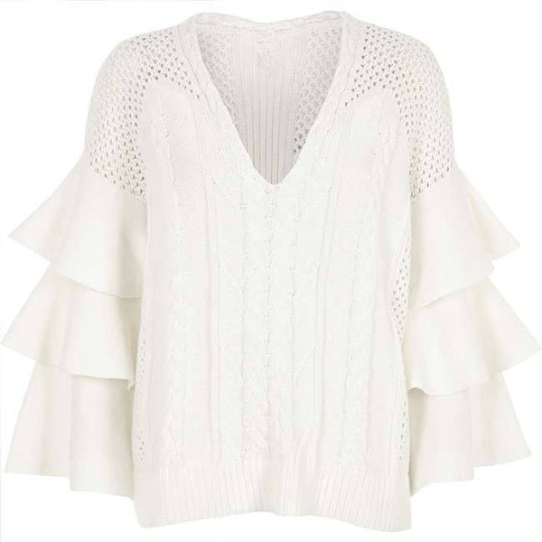 Flower Hollowed-out Twist Weave Falbala Sweater For Big Sale!- Fowish.com