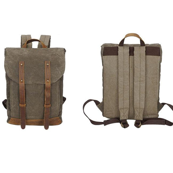 Retro Splicing Leather Belt Flap Vintage School Travel  Waterproof Canvas Man Backpack For Big Sale!- Fowish.com