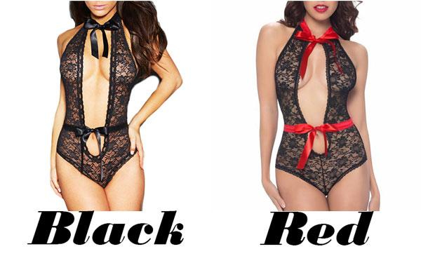 Sexy Women's Front Hollowed-out Lace Mesh Splicing Ribbon Backless Jumpsuits See Through Lingerie For Big Sale!- Fowish.com