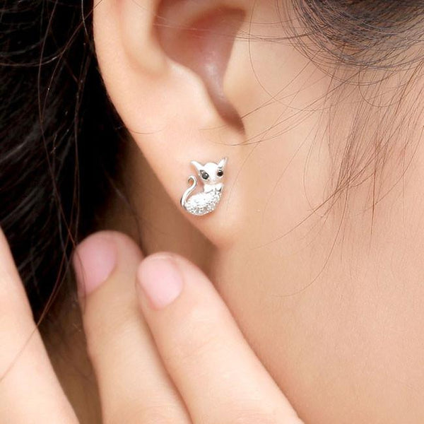Cute Cat Diamond-bordered Animal Kitty Silver Women Earring Studs For Big Sale!- Fowish.com
