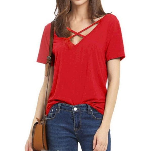 Sexy V Neck Loose Bandage Cross Pure Color Women's T-Shirt For Big Sale!- Fowish.com