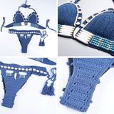 Sexy Blue Knitted Bohemian Style Decorative Shells Tassels Bikini Summer Swimsuit For Big Sale!- Fowish.com