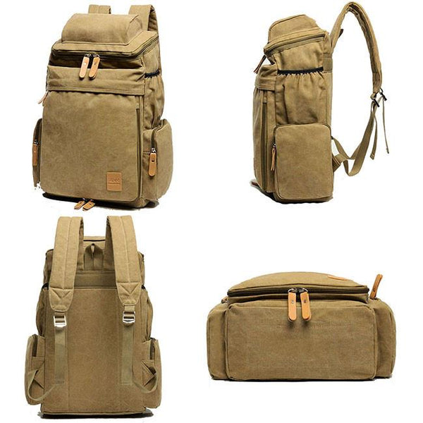 Retro Washing Color Canvas Extensible Large Capacity Travel Backpacks Camping Zippered Backpack For Big Sale!- Fowish.com