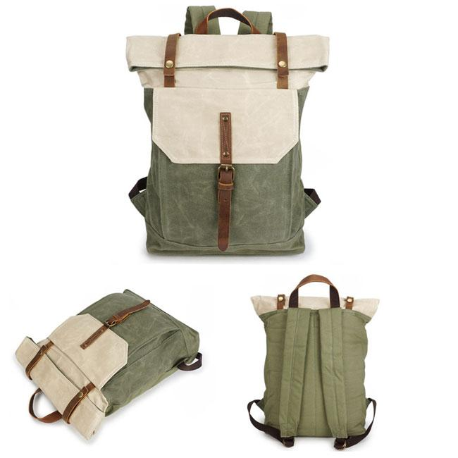 b84834b8fd5b ... Unique Man Retro Canvas Buckle Leather Waterproof Square Flap School  Backpack Large Travel Backpack For Big ...