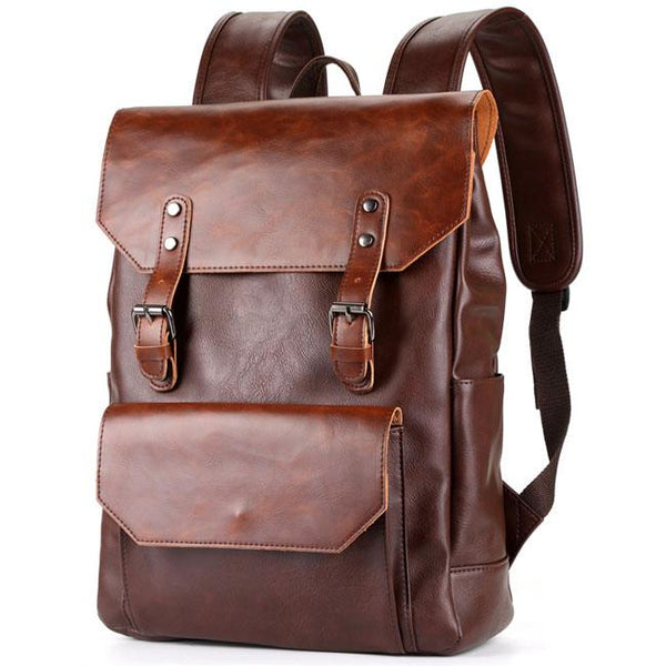 Retro Large Flap Metal Lock Belt Square Men's Brown Strap School Backpack For Big Sale!- Fowish.com