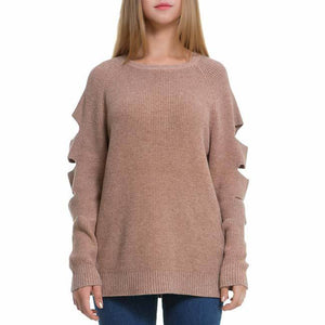 Ripped Sleeves Simple Whole Color Sweater For Big Sale!- Fowish.com