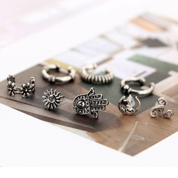 Creative Bohemian Punk Palms Moon Asymmetric Earrings Clips Stud Set For Big Sale!- Fowish.com