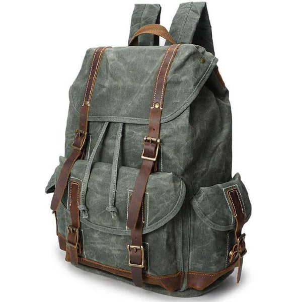 Retro Splicing Leather Belt Draw String Flap Large Waterproof Canvas Travel Backpack For Big Sale!- Fowish.com