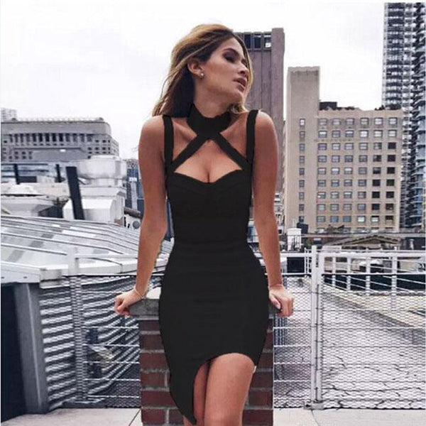 Fashion Strap Strapless Halter Neckless Sleeveless Tight-fitting Nightclub Sexy Dress For Big Sale!- Fowish.com