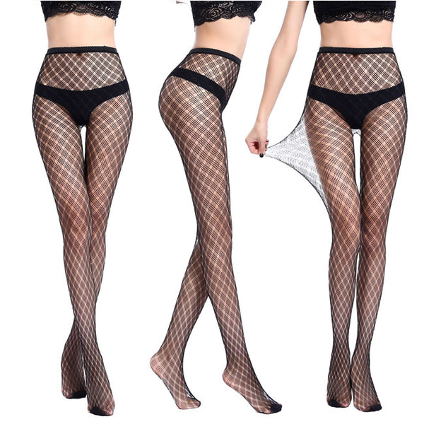 Sexy Hollow Flower High Waist Fishnet Thin Women Stockings
