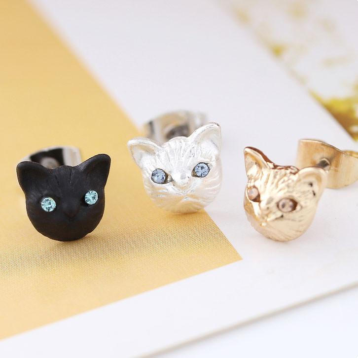 Cute Cat Face Earrings Animal Accessories Girls Kitten Earring Studs For Big Sale!- Fowish.com