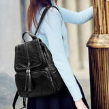Leisure Large Weave Tassel Backpack Women's Black Leather School Bag For Big Sale!- Fowish.com