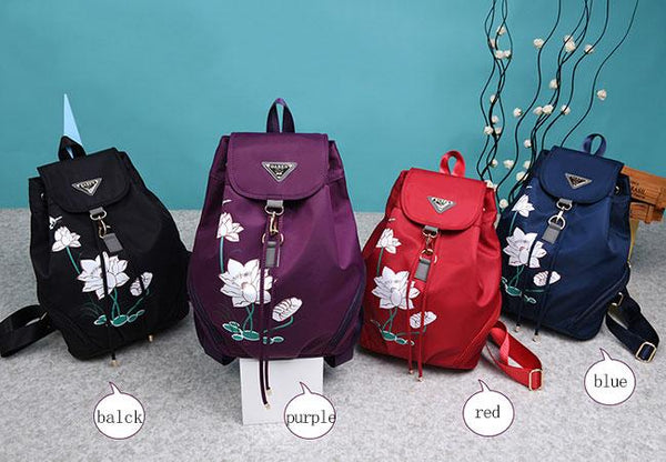 Creative Women's Lotus Printed Nylon Flower School Backpack For Big Sale!- Fowish.com
