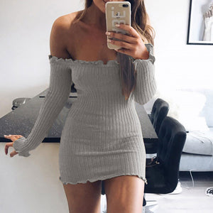 Sexy Wool Sweater Long Sleeves Slim Fit Hip Women's Off Shoulder Knitting Dress