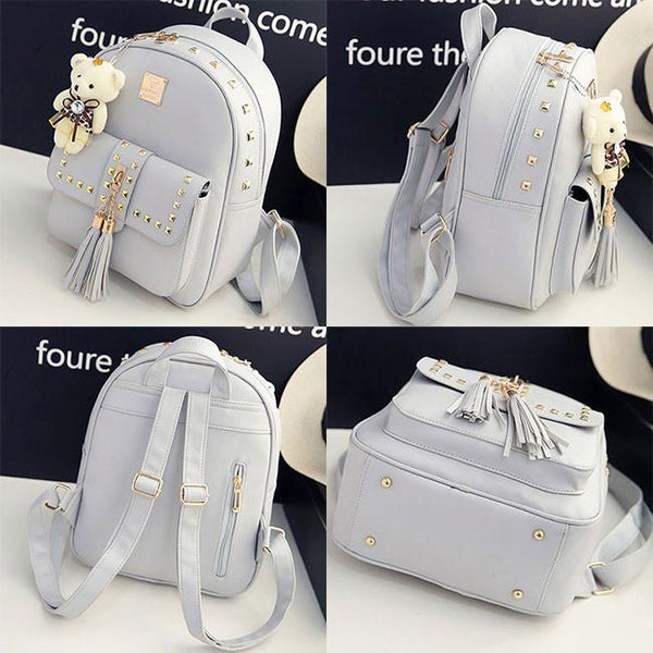 Fashion PU Girl's Metal Rivets Tassel School Backpack Gift Bear Doll Student Backpack For Big Sale!- Fowish.com