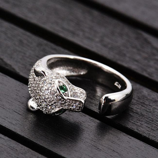 Unique Design Silver Leopard Adjustable Diamond Animal Open Ring For Big Sale!- Fowish.com