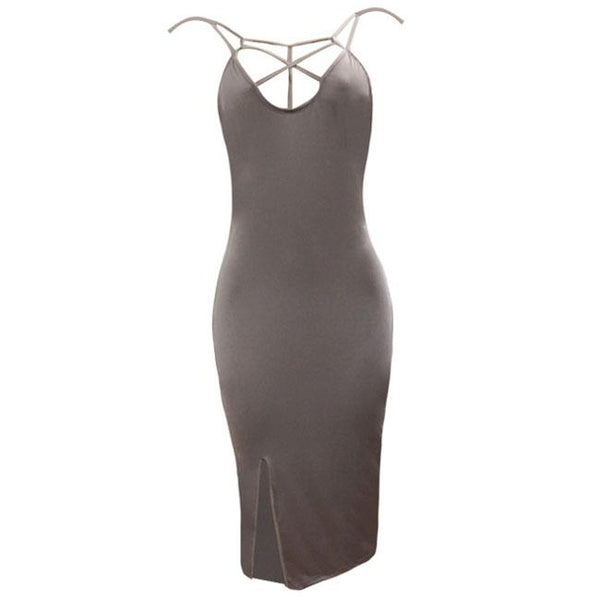 Sexy Chest Hollowed-out Side Slit Bandage Dress Skintight Women's Dress For Big Sale!- Fowish.com