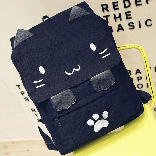 Cartoon Stereo Embroidery Cat Square Large Cute Kitten Canvas School Backpack For Big Sale!- Fowish.com