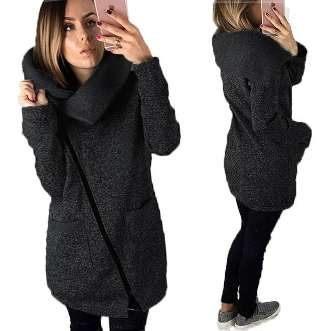 Leisure Solid Hoodies Sweatshirts Women Zipper Tops Jackets Long Sleeves Coats For Big Sale!- Fowish.com