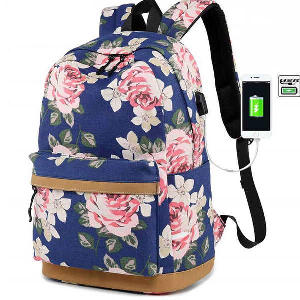 New Large Flower Middle School Bag Floral USB Interface Rose Canvas Laptop Student Backpack